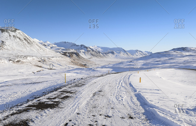 Iceland - winter landscape with road