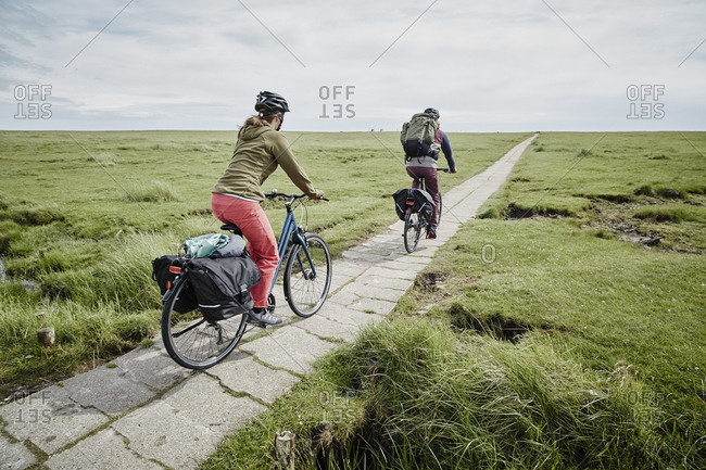 Germany - Schleswig-Holstein - Eiderstedt - couple riding bicycle through salt marsh