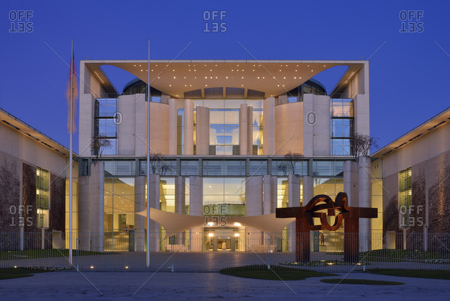 Germany, Berlin - March 12, 2014: Bundeskanzleramt illuminated at dawn