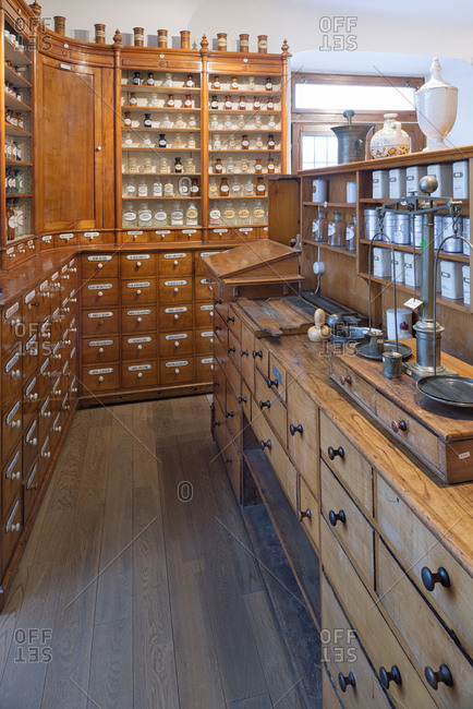 Salesroom of historical pharmacy at municipal museum