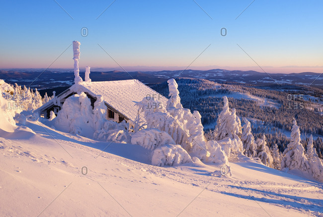 Germany - Bavaria - Bavarian Forest in winter - Great Arber - Zwiesel hut in the evening