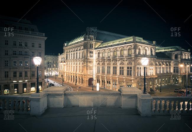 Austria, Vienna - March 29, 2017: State Opera at night