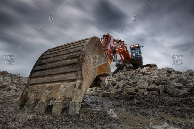 Excavator at dusk