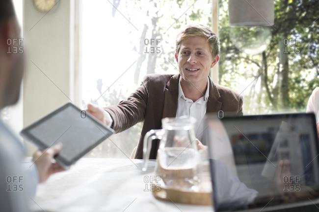Business people brainstorming in a team meeting in office