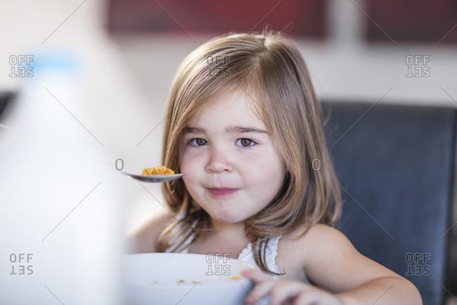 Portrait of toddler eating breakfast cereal