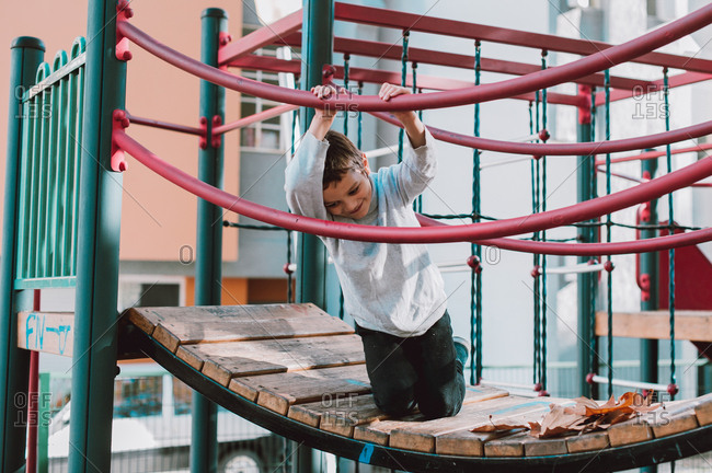Young boy playing on the playground