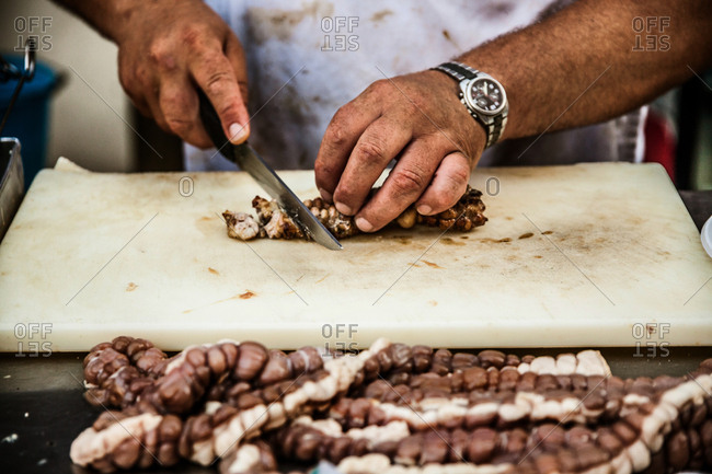 Street food being prepared at the Santa Rosalia Barbecue