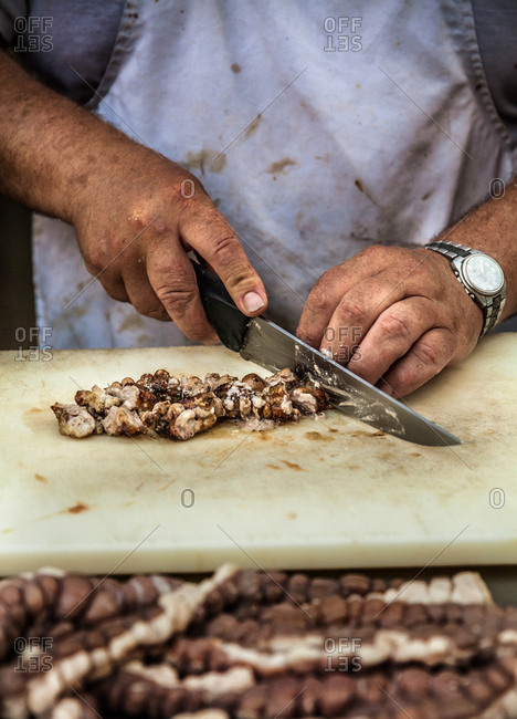 Street food being prepared at the Santa Rosalia Barbecue