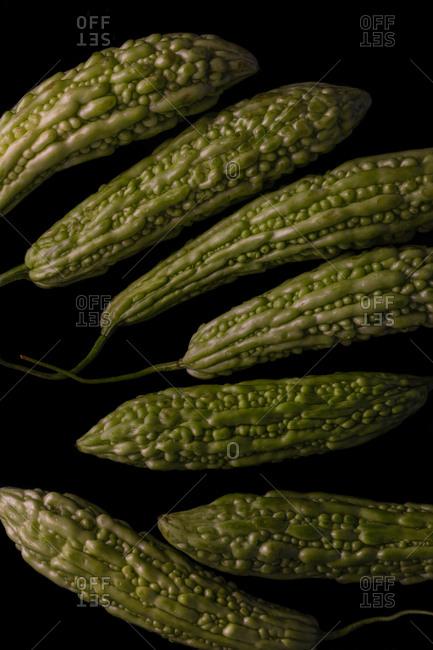 Bitter melons in vertical arrangement