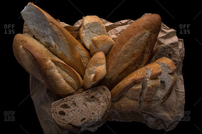 Different types of bread are wrapped in wrapping paper