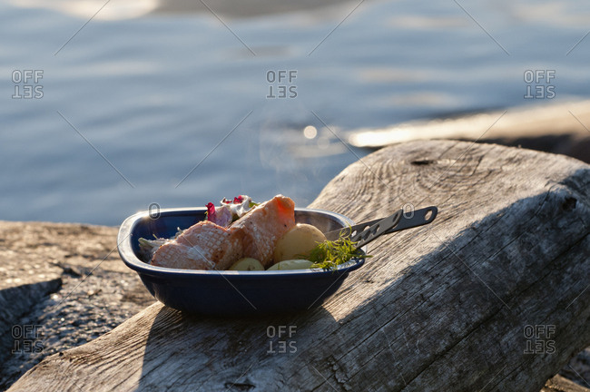 Meat and vegetables in metal bowl on piece of wood by sea