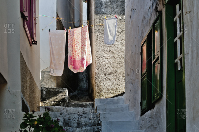 Clothesline in narrow street