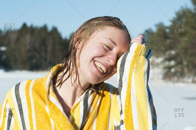 Portrait of woman wearing bathrobe