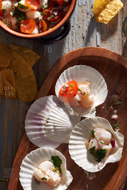 Bay Scallop Ceviche served on open scallop shells with tomato, cilantro, red onion and lime juice.