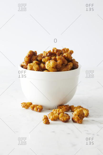 Bowl of caramel puffed corn