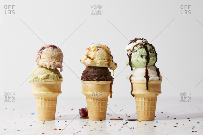 Ice cream cones with toppings