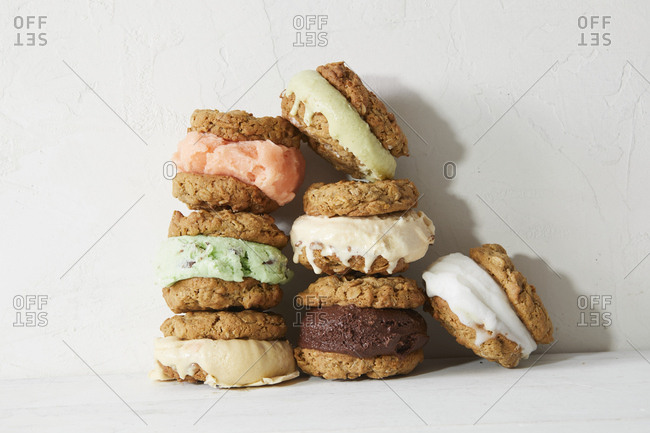 Stacks of homemade ice cream sandwiches