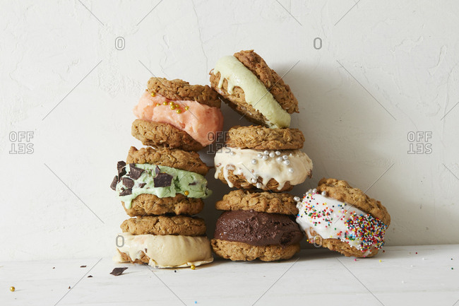 Arrangement of variety of ice cream cookie sandwiches