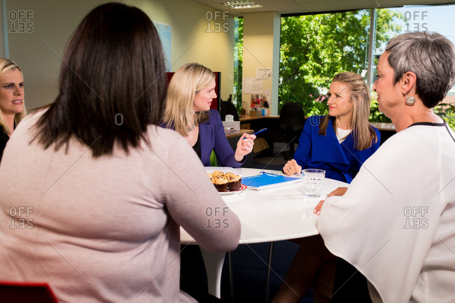 Professional women meeting around table in office