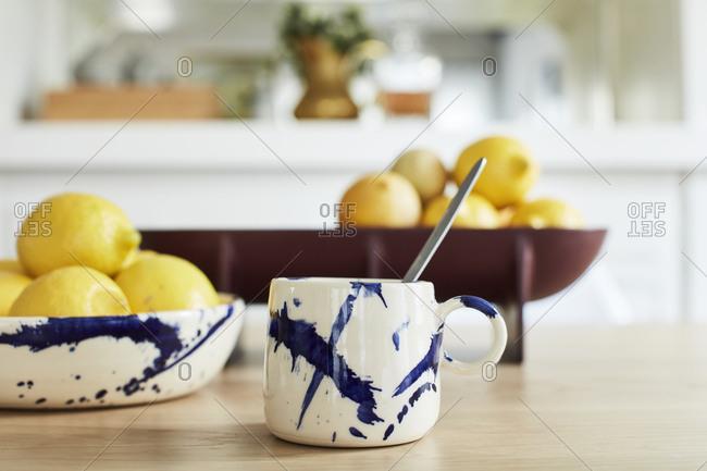 Painted mug on dining room table