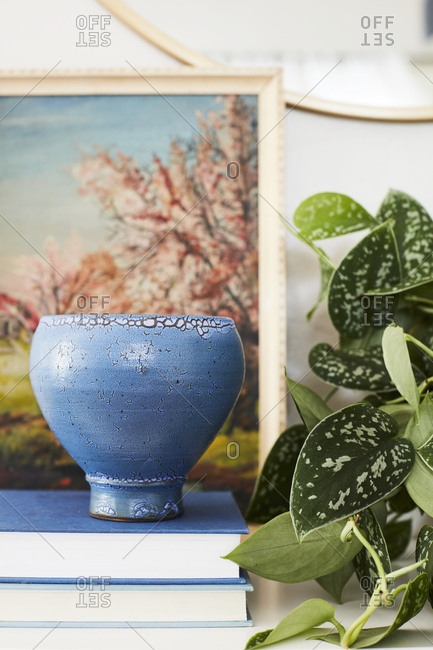 Plant and ceramic bowl on books