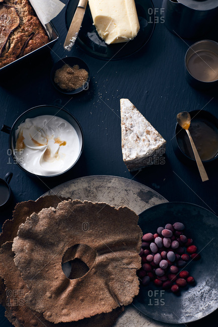 Assortments of food on dark background