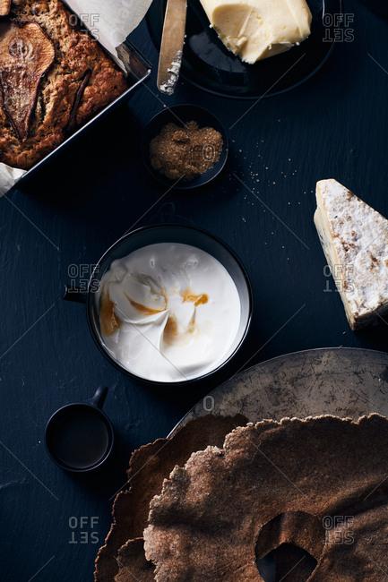 Baked breakfast goods and cream