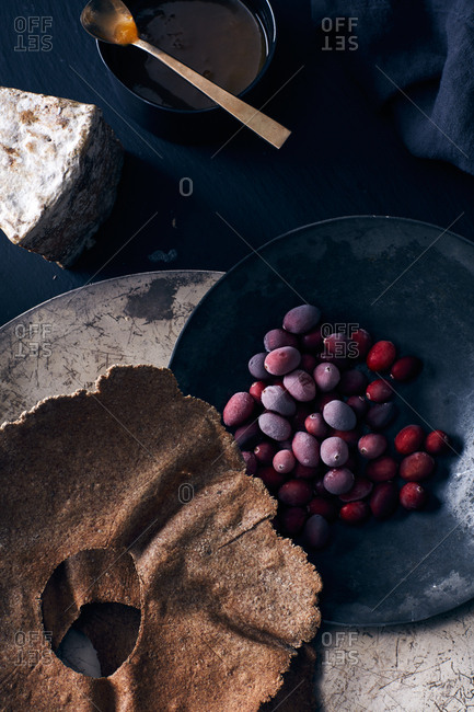 Berries and pastries with cheese