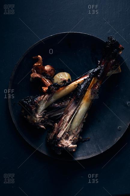 Lamb bones on a plate
