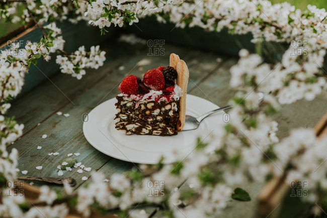 Piece of berry cake on a rustic tray with branches of cherry blossom