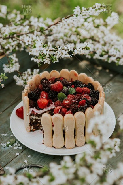 Piece missing from a berry cake on a rustic wooden tray