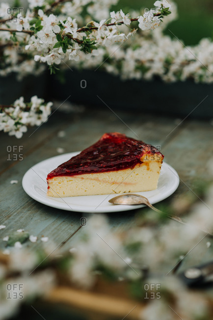 Piece of cheesecake with berry topping on a tray with cherry blossoms