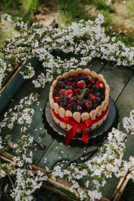 Berry cake with cookies around the edges on a rustic wooden tray with flowers
