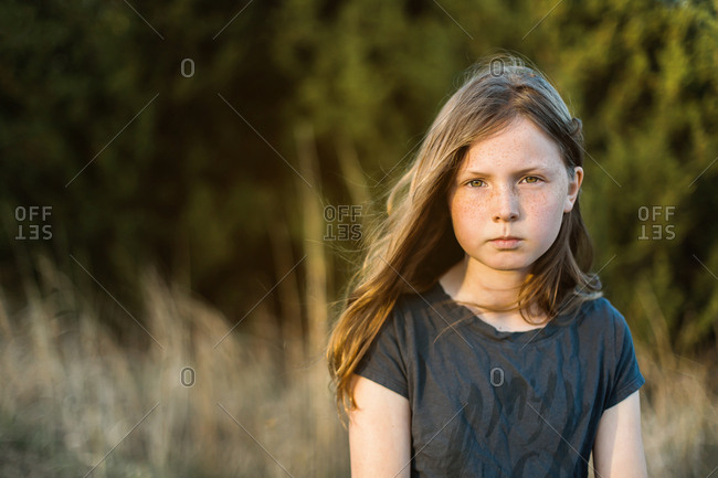Girl in a rural sunset portrait