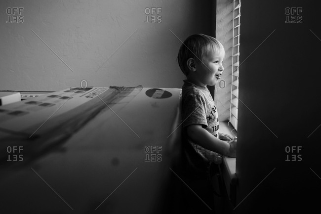 Toddler smiling out a window