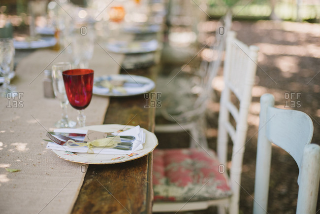 Wood outdoor table set for a wedding