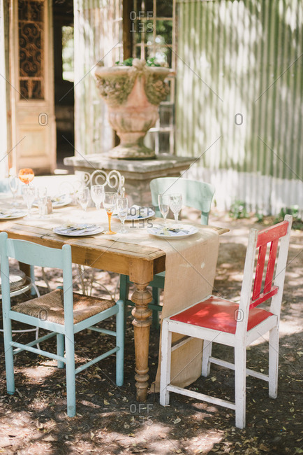 Rustic outdoor table set for a wedding