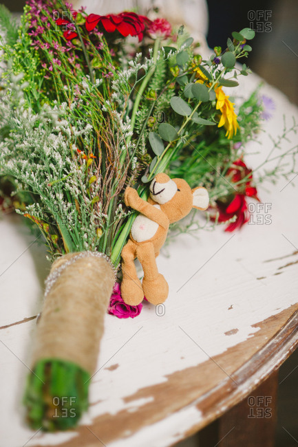 Bride's bouquet with a teddy bear
