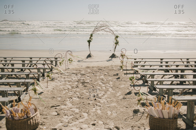 Wedding ceremony set up on the beach in Langebaan, South Africa