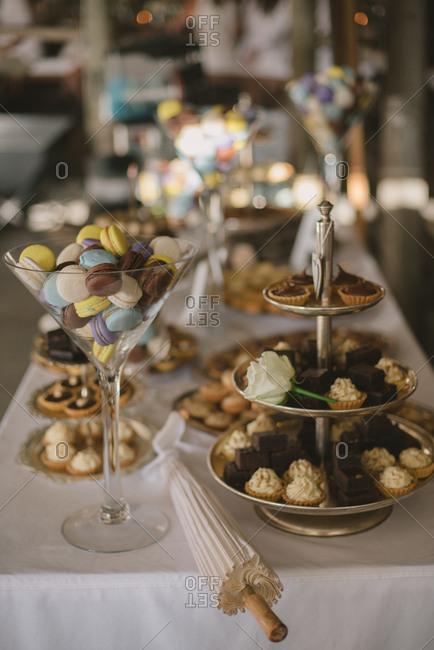 Dessert bar at a wedding reception