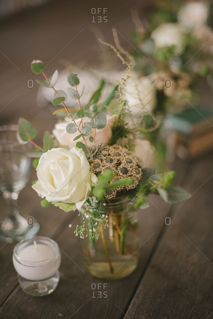Wedding centerpiece on a wooden table