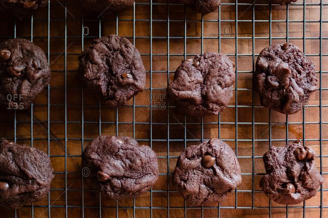 Chocolate cookies cooling on rack
