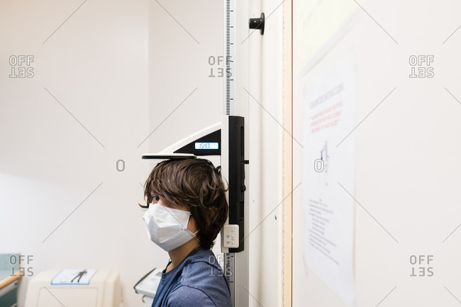 Boy with mask in hospital