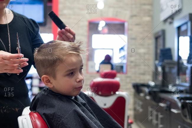 A boy getting his hair cut