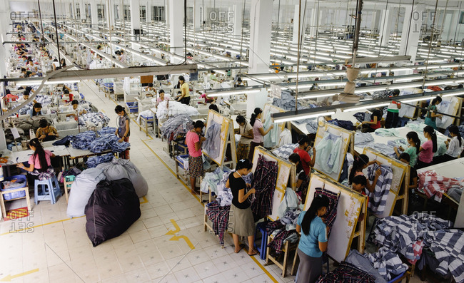 Yangon, Yangon, Myanmar - March 25, 2015: High angle view of workers in garment factory