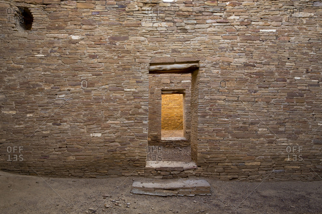 Pueblo Bonito doors and stone walls, Chaco Canyon Historical Park,  New Mexico, United States