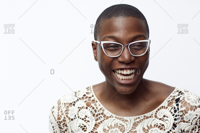 Smiling stylish woman wearing eyeglasses