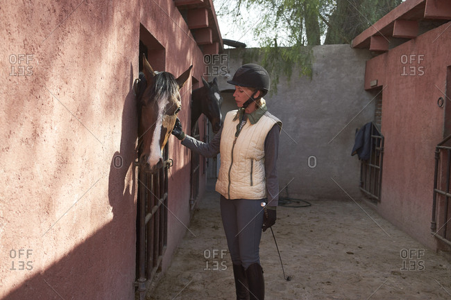 Caucasian girl examining horse in stable on ranch