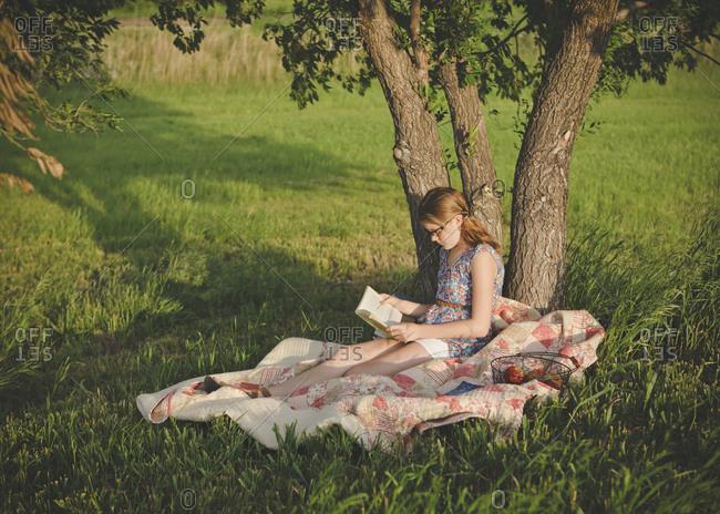 Caucasian girl reading book under tree in field