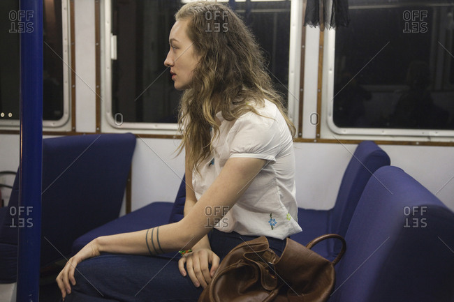 Woman riding train